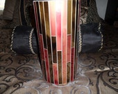 Vintage mosaic pillar candle holder
