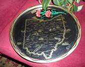 Vintage souvenir metal tray from Ohio