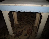 Pale creamy yellow and blue shabby cottage chic side end table with scalloped edges