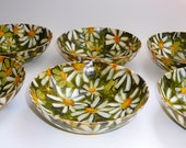 Vintage Melmac Dishes Green Daisy Mid Century Housewares