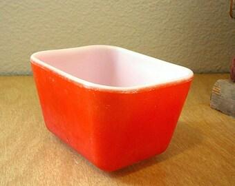 MID CENTURY PYREX Orange Refrigerator Dish 1950s Retro Kitchenware