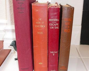 RED BROWN Vintage Book Collection Interior Design Home Decor