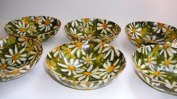Vintage Melmac Dishes Green Daisy Mid Century Housewares