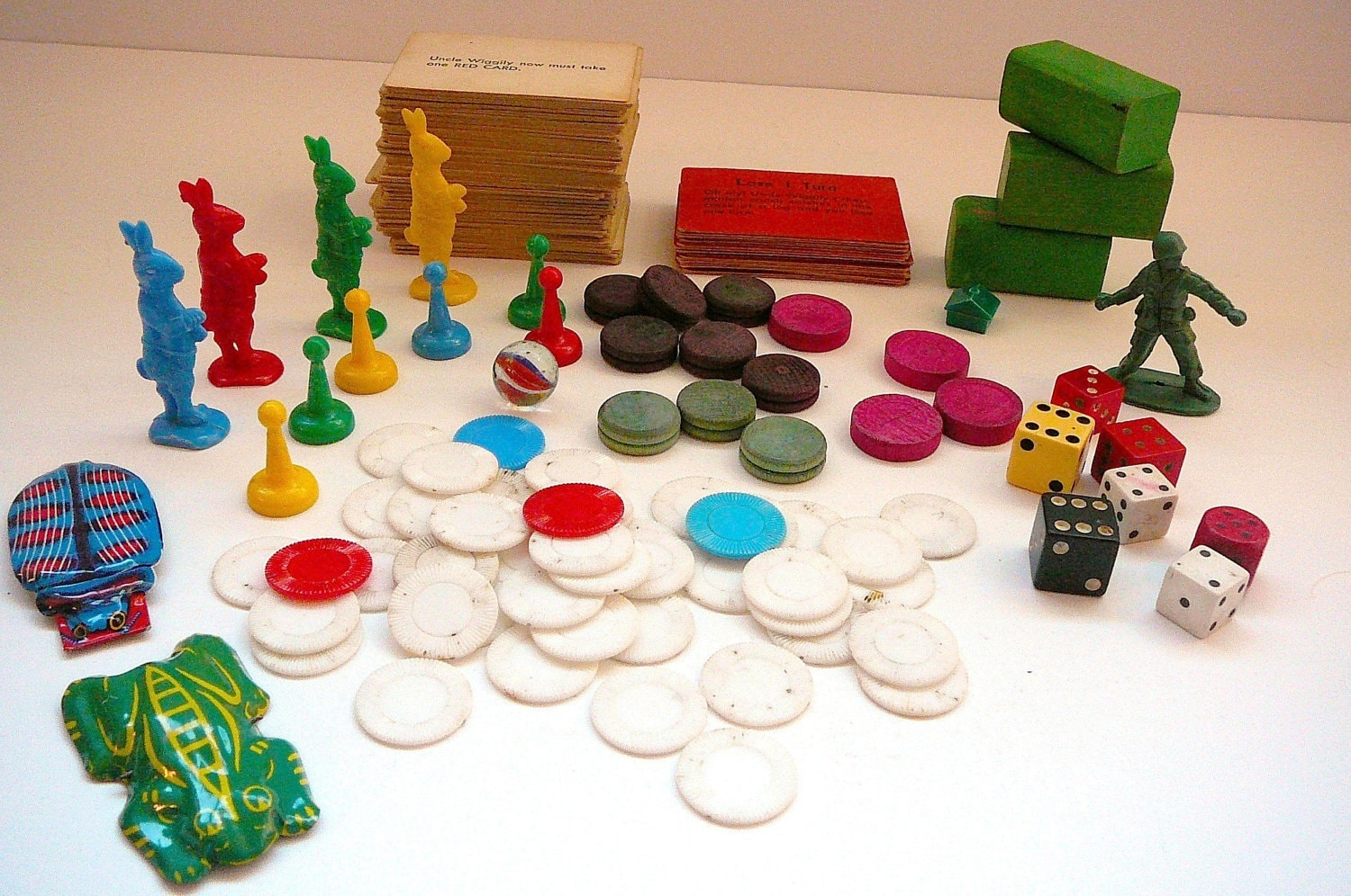 Vintage Game Pieces Board Game Tokens Dice