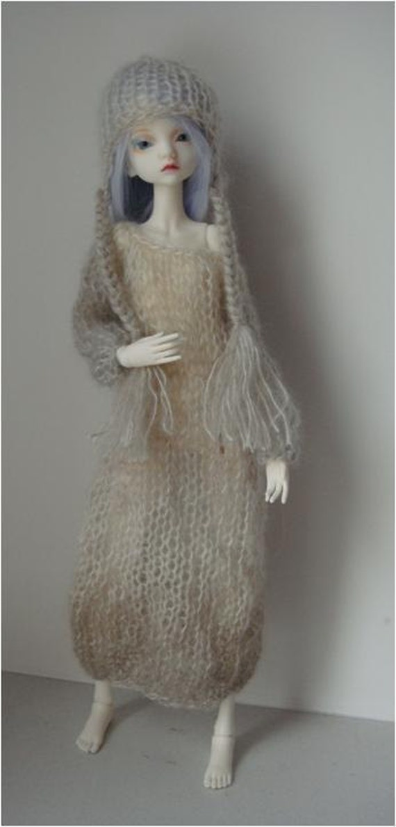 Knitted Long-Sleeved Sweater Dress with Beanie for Doll-Chateau Kid