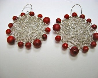 Silver Wire Crochet Earrings With Cheery Cherry Beads