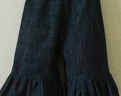 Denim RUFFLED PANTS for Baby or Toddler Sizes 6mo to 5T