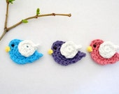 PATTERN- Crochet Bird Applique- Ok to sell finished product