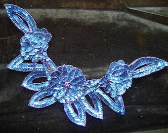 Large Royal Blue Sequin Bead Neckline Flower Applique