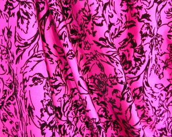 Hot Pink Taffeta with Black Flocked Floral   1 Yard  (SM130)