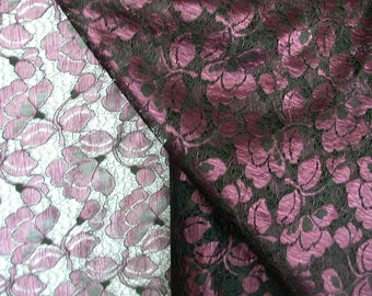Burgandy and Black Double Border Lace  1 Yard  (SM185)