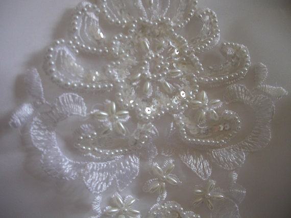 Pearl Sequin Embroidered Lace Bridal Applique