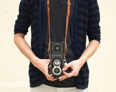 Personalized Camera Neck Strap with Adjustable Length - Leather - Rust - Harlex Hand Stitched - Front Page of Etsy