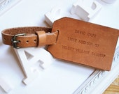 Personalized Engrave Leather Luggage Tag Travel - Single Sided Monogrammed, Hand Stitched by Harlex, best for wedding favor