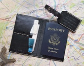 Personalized Leather Passport holder & Luggage Tag Travel Set, Leather Passport cover Leather Luggage Tag, groomsmen gift bridesmaids gift