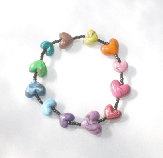 Marbled Hearts Beads Rainbow Bracelet