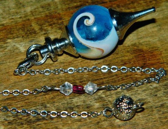 RARE Blue Chakra Aura Shell Swirl Pendulum Pendant  with Garnet & Quartz - Calm Loyalty Trust Knowledge Healing Inspiration