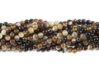 4mm Natural Brown Banded Madagascar Agate
