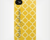 iPhone 6 Case - iPhone 6 Case - Personalized iPhone 5 Case 4 / 4S or 3G or Samsung - Yellow Quatrefoil - Custom Designed Cover