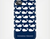 iPhone 6 Case - iPhone 6 Case - iPhone 6 Case - Personalized iPhone 5 Case 4 / 4S or 3G or Samsung - Navy and White Nautical Whales