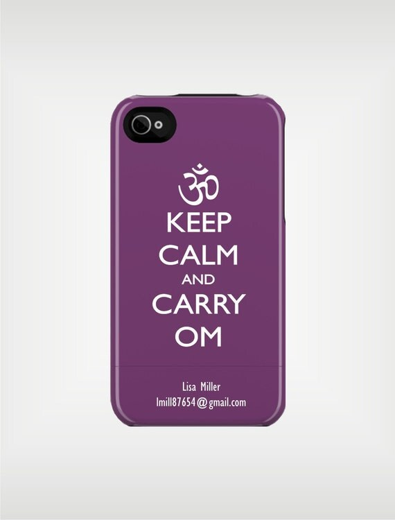 iPhone 6 Case - Keep Calm and Carry Om Personalized iPhone 5 Case 4 / 4S or 3G or Samsung  - original design by a drop of golden sun