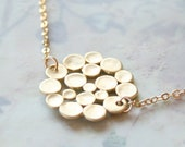 Golden Atmosphere Necklace in Gold - Dotted Bubble Cloud Gold Charm necklace