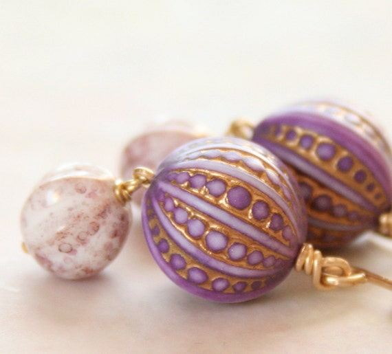 Royal Urchin earrings - Vintage Purple Lavender and Gold Patterned Textured Lucite, Czech Glass and Gold earrings