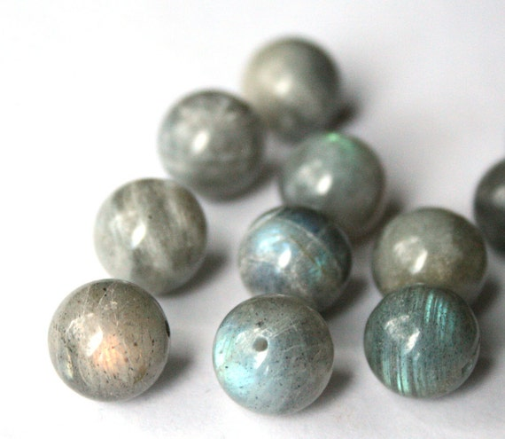 Smooth Labradorite Round Beads 12mm - 12 pieces Soft Grey Stone Blue Teal Green Flash