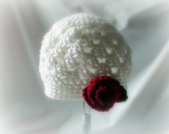 Jack and Jill Beanie - MADE TO ORDER - Choose Colors and Flower - Man or Woman Styles Available - Adult Size