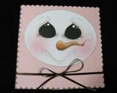 Christmas Card - Whimsical Snowman Greeting Card - Handmade Card