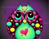 Hooty Love Owl  - Open Edition Print 8 X 10