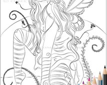 Fairy Coloring Page - Adult Coloring Page - Fairy Coloring Page - Digital Coloring Page - Fantasy Coloring Page - Fairy - Fairy Stationary