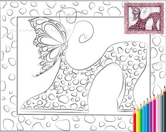 Shoe Coloring Page - Butterfly Shoe - Shoe Art - Butterfly Art FantasyPrintable PDF Digital Download Coloring Page