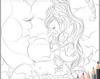 Mermaid Coloring Page - Dragon Coloring Page - Mermaid Art - Dragon Art - Adult Coloring Page - Coloring Page - Digi Stamp