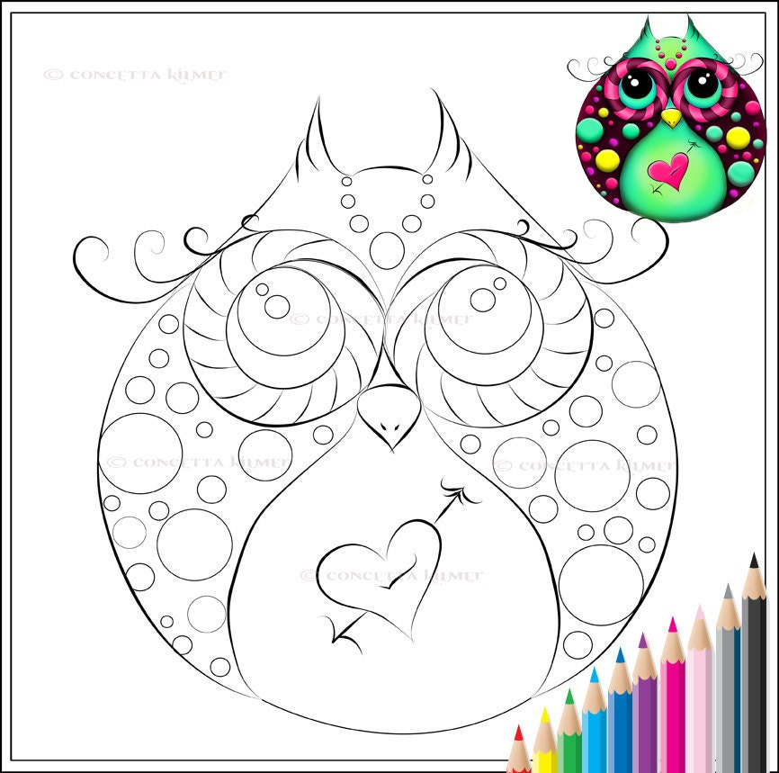 Owl Coloring Page Adult Coloring