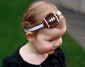 Crochet Football Headband,  Baby Girl Football Headband, Baby Headband, Baby Football Headband