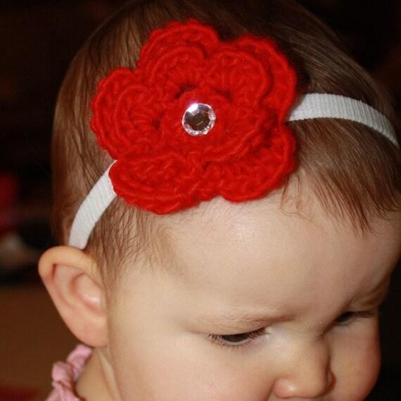 Red Chrocheted Flower Baby Girl Christmas Headhand