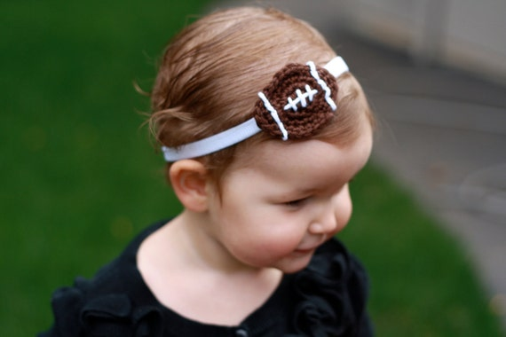 Crochet Football Baby Girl Headband