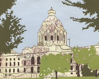 "Minnesota State Capitol Print of the Original Cut Paper Illustration - 14""x10"" Fine Art Print on Watercolor Paper"