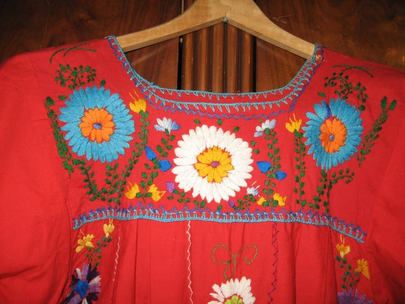 SALE  Mexican Embroidered Hippie Red Dress