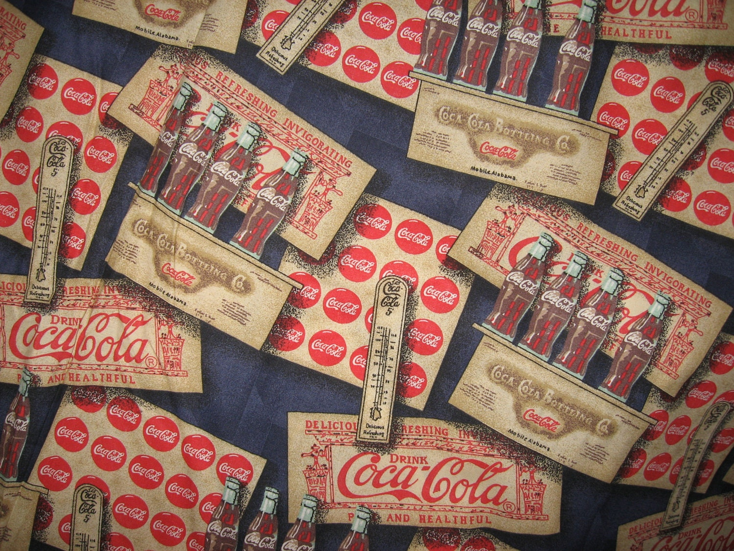 Coca Cola Fabric By Myvintagestore On Etsy