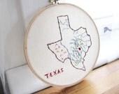 Texas State Map Art. Hand Embroidery. Hoop Wall Art. State Outline Map. Map Decor. Teacher Gift. Graduation Gift.
