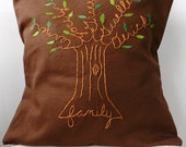 Family Tree Personalized Pillow Cover. Chestnut Brown.  Gift for him. Gift for Parents. Bride or Groom. Anniversary Gift.