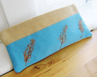 Feather Embroidered Pouch. Personalization options. Pencil Pens Eyeglass case.  Cosmetic bag. Accessory. Teacher Christmas Gift.