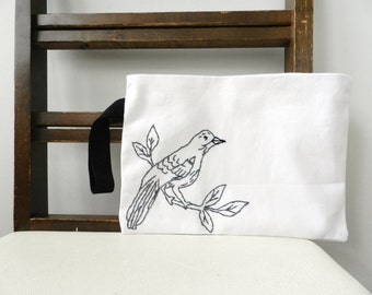 Bird on a Branch Wristlet. Black White Charcoal Gray.Embroidered Small Handbag. Purse. Pouch. Wedding Accessories. Gift for Friend.