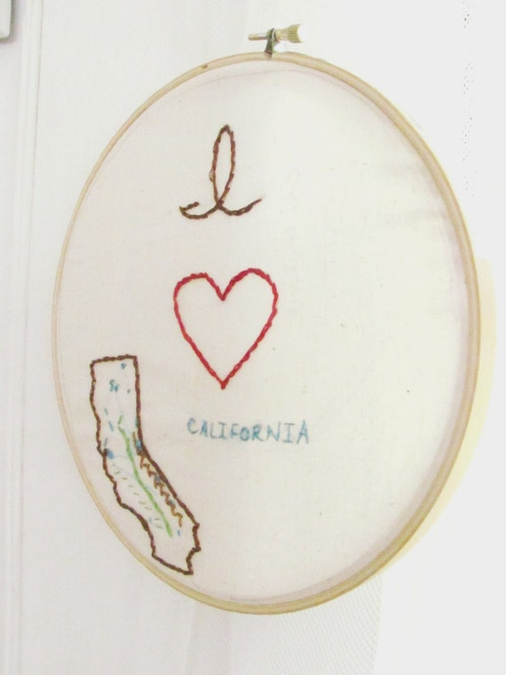 I Love California. 7 inch. Embroidery Hoop Wall Art. Map Art. Vacation. State Maps. Love Home. Heart Home Art. Gift for Graduates.