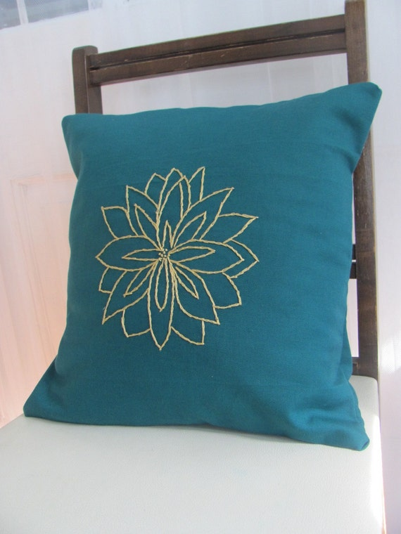 Yellow Contemporary Floral Pillow Cover. Teal or Gray. Hand Embroidered. Summer Decor. Fresh pillows. Modern. Turquoise.