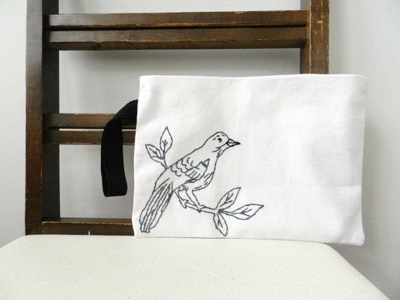 SALE Bird on a Branch Wristlet. Black White Charcoal Gray.Embroidered Small Handbag. Purse. Pouch. Wedding Accessories. Gift for Friend.