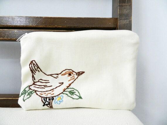 Bird and Branch Zipper Pouch.  Carolina Wren.  White Brown Green Blue.  Small bag. Sunglass case.