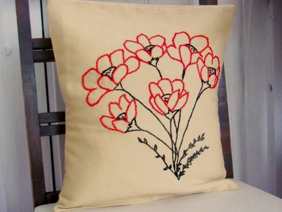 Poppies Pillow Cover Embroidered 16 inch. Floral Pillows. Red Black decor. Poppy Art. Botanical. Summer Home Decor. Poppy Cushions.